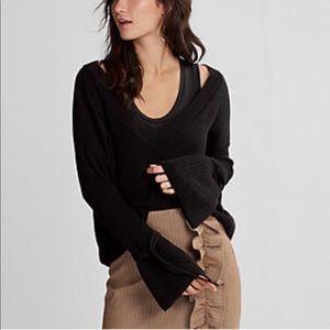 Express black v neck bell sleeve sweater